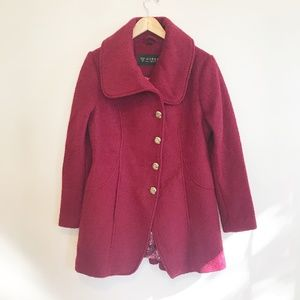 Guess Red Wool Pea Coat Size Large
